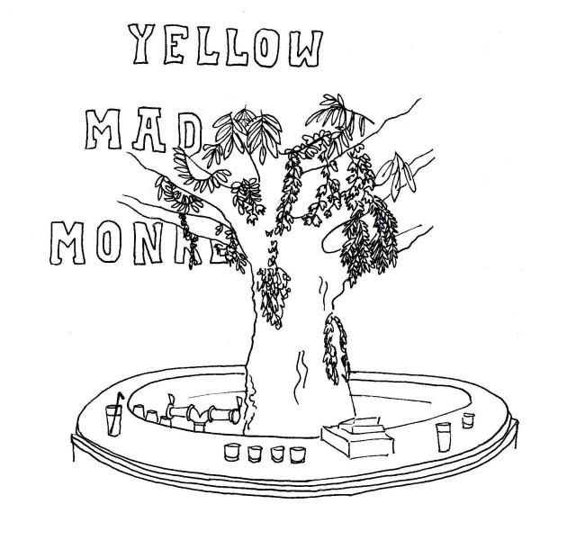 illustration yellow mad monkey