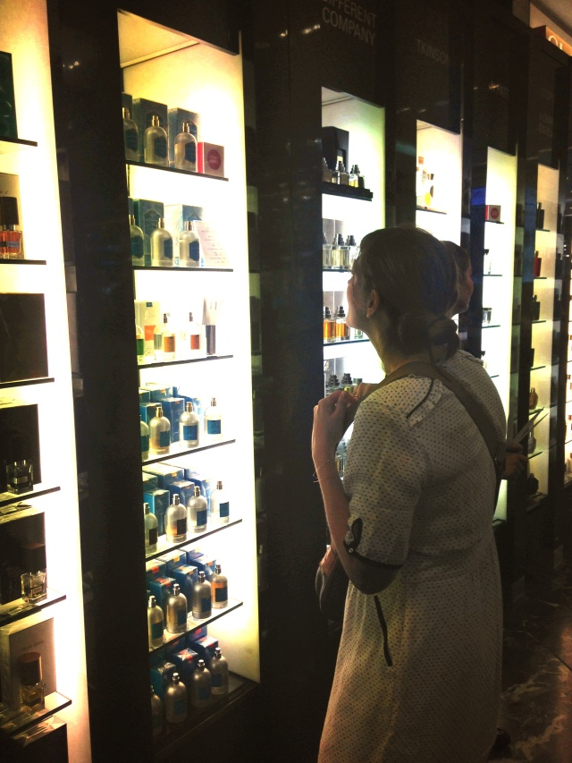 Celine looking at perfume Printemps